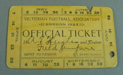 Victorian Football Association umpire ticket, issued to Alfred Hughes - season 1923