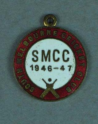 South Melbourne Cricket Club membership medallion, season 1946-47