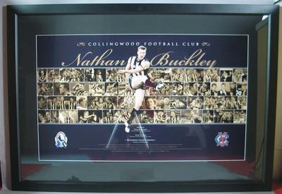 Photograph montage, Nathan Buckley and the Collingwood Football Club; presented to MCC President David Meiklejohn by CFC President Eddie McGuire, on Saturday 26 July 2008