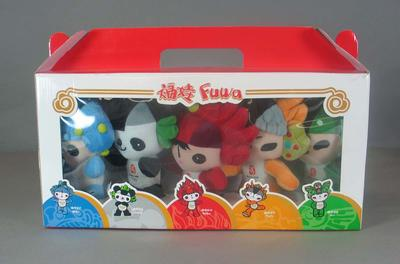 Box which contains 5 toy mascots from 2008 Beijing Olympic Games