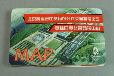 Map of Beijing Olympic bus lines, in Chinese characters and  Beijing Olympic mascot Huanhuan