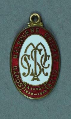 South Melbourne Cricket Club membership medallion, season 1948-49