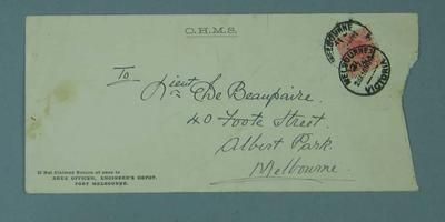 Envelope addressed to F. Beaurepaire, from Area Officer at Engineers Depot
