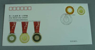 First Day Cover -  'The Release of the medal of the Beijing 2008 Paralympic Games', No. 014771