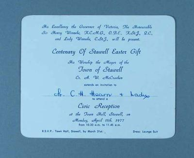 Invitation to reception commemorating centenary of Stawell Easter Gift, 1977