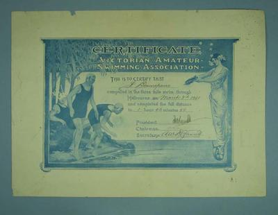 Certificate presented to Frank Beaurepaire by VASA for completing three mile swim through Melbourne, 3 March 1928