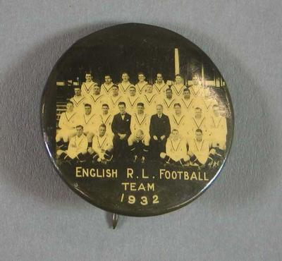 stickpin Badge - 1932 English Rugby League Football Team image; Clothing or accessories; 2008.255