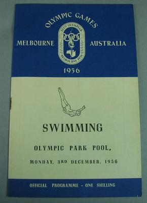 Official swimming programme from the 1956 Melbourne Olympic Games, 3rd December; Documents and books; 2008.232.2