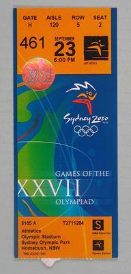 Ticket - 2000 Sydney Olympics, Olympic Stadium, Athletics, 23 September, No. 461