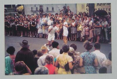 Photograph of 1956 Olympic Games Torch Relay at first mile change over, Cairns