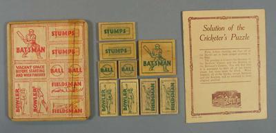 "Board game, ""The Latest Cricketers Puzzle"" circa 1920's"