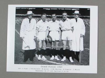 Black and White photograph of 1949 Grand Final Umpires  on MCG