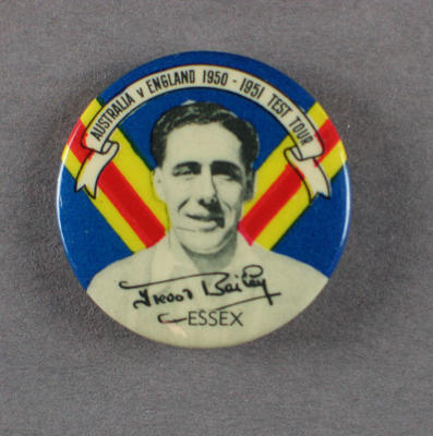 Badge with image of Frederick Bailey, 1950-51