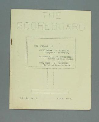 Magazine, 'The Scoreboard', Volume 1, Number 2, March 1952.
