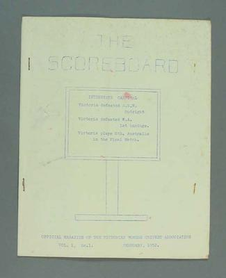 Magazine, 'The Scoreboard', Volume 1, Number 1, February 1952.