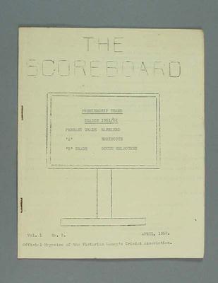 Magazine, 'The Scoreboard', Volume 1, Number 3, April, 1952