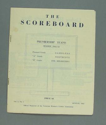 Magazine, 'The Scoreboard', Volume 2, Number 1, August 1952.