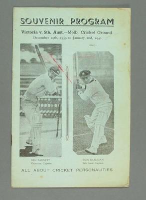 Souvenir programme, Victoria v. South Australia - the Melbourne Cricket Ground. December 29 1939 to January 2 1940
