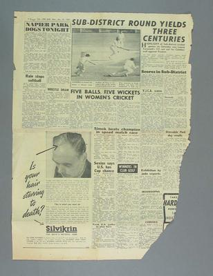 Newspaper article, 'The Sun',  27 October 1952 refers to Billie Hargraves