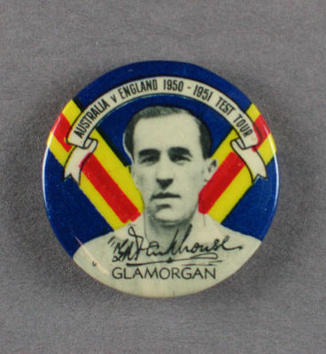 Badge with image of Gilbert Parkhouse, 1950-51