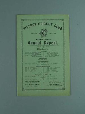Annual report, Fitzroy Cricket Club - season 1917/18; Documents and books; 1987.1756.22