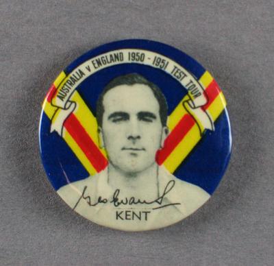 Badge with image of Godfrey Evans, 1950-51