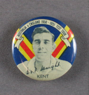 Badge with image of Douglas Wright, 1950-51