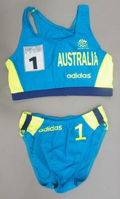 Beach volleyball uniform worn by Natalie Cook, 1996 Atlanta Olympic Games; Clothing or accessories; N2008.5