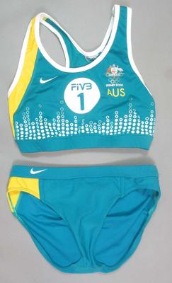 Beach volleyball uniform worn by Natalie Cook, 2000 Sydney Olympic Games; Clothing or accessories; N2008.6