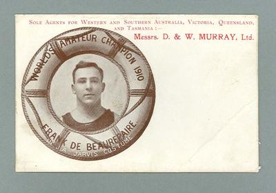 Postcard featuring image of Frank Beaurepaire, World's Amateur Champion 1910
