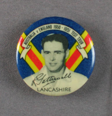 Badge with image of Roy Tattersall, 1950-51