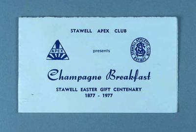 Invitation to breakfast commemorating centenary of Stawell Easter Gift, 1977