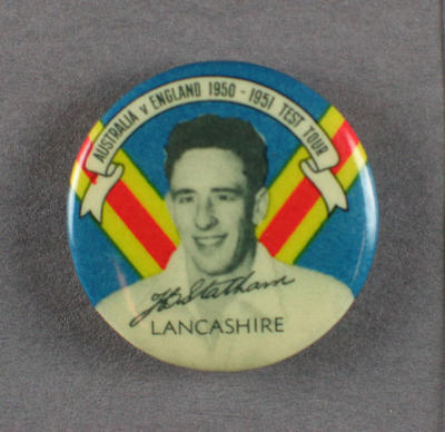 Badge with image of Brian Statham, 1950-51