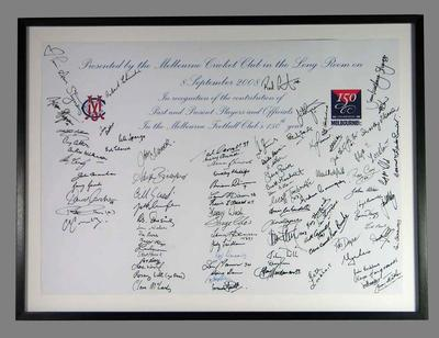 Framed autographed piece of paper presented to the Melbourne Cricket Club, 8 September 2008 -  Melbourne Football Club's 150th Year