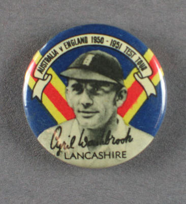 Badge with image of Cyril Washbrook, 1950-51