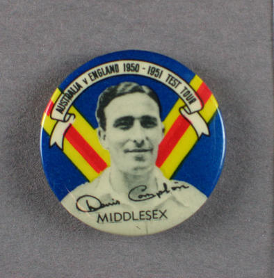 Badge with image of Denis Compton, 1950-51