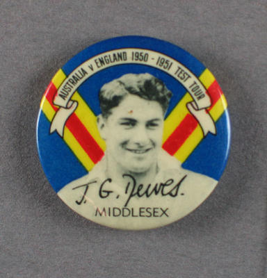 Badge with image of John Dewes, 1950-51