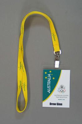 Reception dinner pass issued to Drew Ginn, 2008 Beijing Olympic Games
