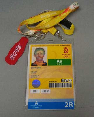 Security pass issued to Drew Ginn, 2008 Beijing Olympic Games