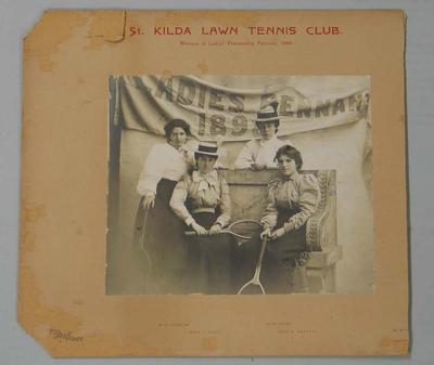 Photograph of the St. Kilda Lawn Tennis Club Ladies' Premiership Pennant team, 1898