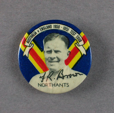 Badge with image of Frederick Brown, 1950-51; Civic mementoes; 1988.1997.13