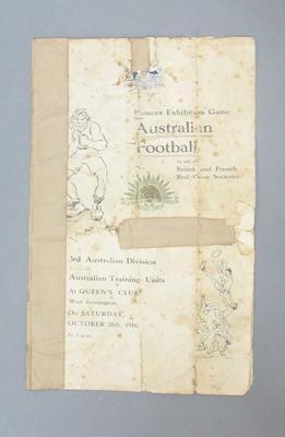 Programme - Australian Training Units v 3rd Australian Divisional Team, London, 28 October 1916