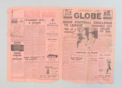 Two newspaper sheets -The Sporting Globe, 25th April, 1953 - revisiting match between Australian Training Units & 3rd Australian Divisional Team 28/10/1916
