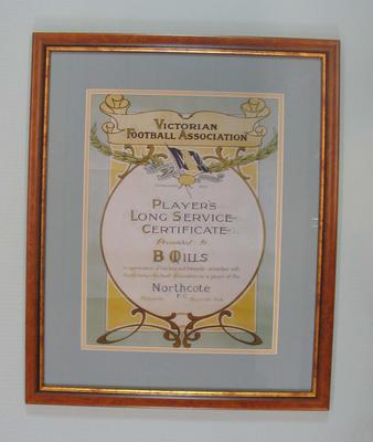 Long Service Certificate presented to B. Mills, Northcote FC,  by Victorian Football Association, 24 March 1924