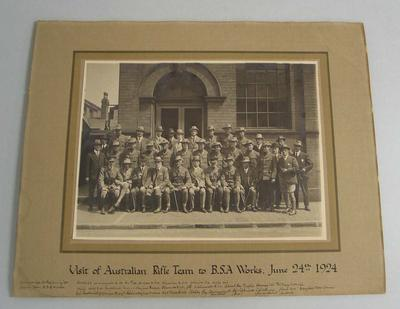 Photograph - Australian Rifle Team visiting B.S.A. Works, England 24 June 1924
