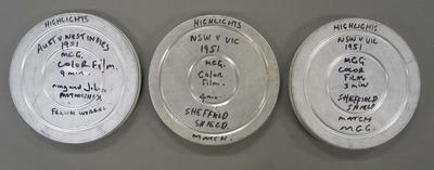 Colour film reels, Australia v West Indies Test match and NSW v Victoria Sheffield Shield match - 1951