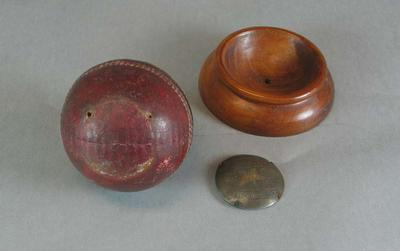 Mounted cricket ball presented to J Elliott Monfries, NSW v Victoria - 26 December 1903