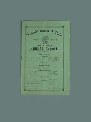 Annual report, Fitzroy Cricket Club - season 1918/19; Documents and books; 1987.1756.23