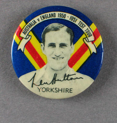 Badge with image of Len Hutton, 1950-51; Civic mementoes; 1988.1997.20