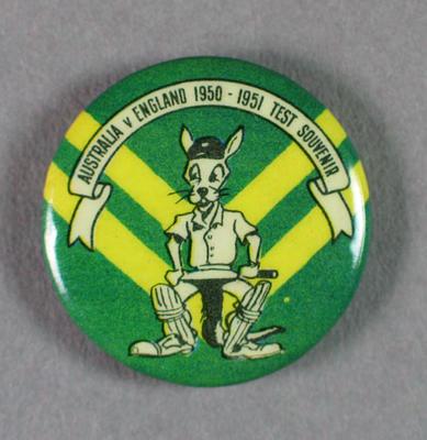 Small badge, Australia v England Test souvenir 1950-51